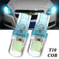 2x T10 194 W5W COB LED Super Bright Silice License Plate Lampe Ampoule Bleu 12V