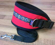 "GREYHOUND / LURCHERs DOG COLLAR FLEECE LINED ADJUSTABLE 13"" - 17"" **FREE LEAD**"