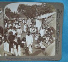 Stereoview Photo India Merchants At Stalls Of Great Mela Fair Calcutta Underwood