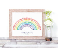 Personalised RAINBOW Word Art Print Teacher End of Term Graduation Gift Keepsake