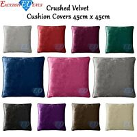 "Plain Luxury Crushed Velvet Square Cushion Covers With Piped Edges - 18"" x 18"""