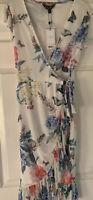 Lipsy White Floral Print Mesh Wrap Dress Size 6 BNWT Summer Garden Party RRP£55