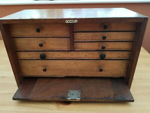 Vintage 7 Drawer Engineers Wooden Tool Box  by  EMIR