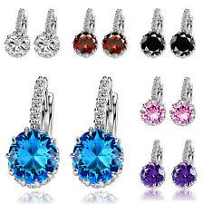 New Round Ocean Crystal Hook Blue Earrings Rhinestone Drop Ear Studs