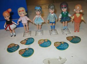 1960s HASBRO LOT OF 6 DOLLY DARLINGS DOLLS WITH TAGS SOME STANDS