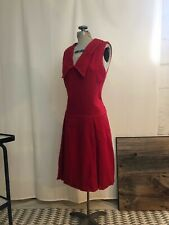 1960s red wool dress with wide sailor collar lolita M