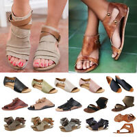 Womens Summer Flat Gladiator Sandals Casual Flip Flops Slippers Roman Shoes Size