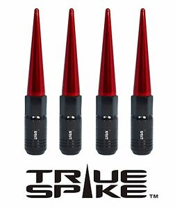 4 TRUE SPIKE 121MM 12X1.25 FORGED STEEL TUNER LUG NUTS W/ RED EXTENDED SPIKES