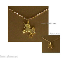 """Dogeared Gold UNICORN Charm Life is Magical Necklace 14K Gold Filled 16"""" & POUCH"""
