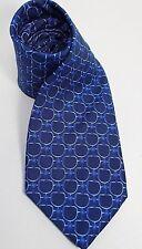 BROOKS BROTHERS Mens 100% Silk Tie Blue Geometric Circles Pattern Necktie USA