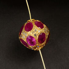12.3MM 18k Solid Yellow Gold Natural Ruby Champagne Diamond Spacer Pendant Bead