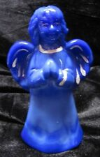 FENTON ART GLASS PERIWINKLE BLUE HAND PAINTED ANGEL FIGURINE SIGNED