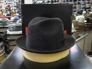 DOBBS WORLD S BLACK MIX LONG HAIR FUR FELT FEDORA DRESS HAT