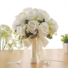 Crystal White Roses Bridesmaid Wedding Bouquet Bridal Artificial Silk Flowers