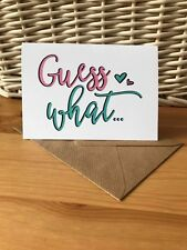GUESS WHAT you're going to be a PREGNANCY ANNOUNCEMENT card KEEPSAKE baby