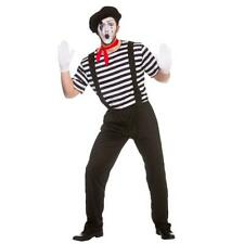 Mens Mime Costume Clown Halloween Fancy Dress Outfit