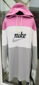NEW Nike Varsity French Terry Hoodie Dress Pink White Grey Loose Fit Size S