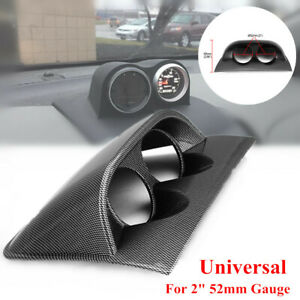 "2"" 52mm Meter Carbon Fiber Car Universal 2 Hole Dashboard Gauge Pod Holder Cover"