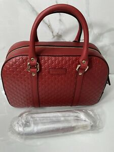 Gucci MicroGuccisima Margaux small Leather Satchel Red