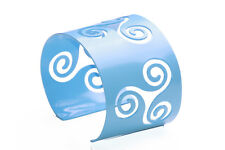 METAL SWIRL PATTERN ADJUSTABLE BRACELET CUFF BABY BLUE,FUNKY JEWELLERY(ZX49)