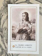 Ancienne Image Pieuse Relique Sainte Marie Goretti étoffe
