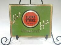 """Vintage Lucky Strike Cigarette Tin Flat Fifties """"IT'S TOASTED"""" 1930's  MM"""