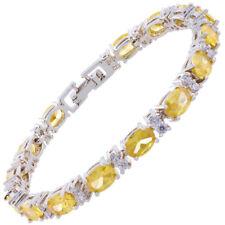 Schmuck Jewelry Oval Cut Yellow Citrine White Gold Plated Tennis Bracelet