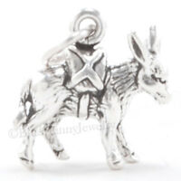 PACK MULE Charm Pendant Donkey Travel burro Hiking STERLING SILVER 3D 925 .925