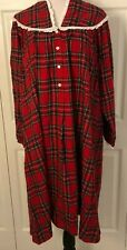 Lanz Of Salzburg Womens Red Plaid Nightgown Size Large Long Sleeve White Eyelet