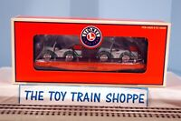 LIONEL 6-17572 PIONEER FLATCAR W TWO CLASSIC PEDAL CARS. NEW IN BOX.