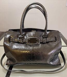 Michael Kors Hamilton Crocodile Grey Embossed  Satchel Shoulder Purse Handbag