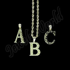 Real 10K Yellow Gold Nugget Initial Letter Pendant A-Z Alphabet Charm Rope Chain