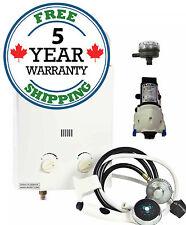 Marey 5L Portable Tankless Water Heater Shower Kit + Flojet Pump & Strainer Kit