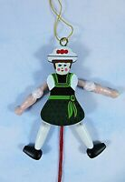 """Wooden Pull String Dancing Christmas Ornament Hand Painted Colorful 4.5"""""""