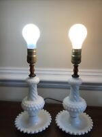 "Antique Milk Hobnail Glass Nightstand Lamp 16"" (set of 2) No Shade"