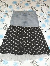 Shock Resistant girls size 12 denim cotton and lace mid length skirt in GC