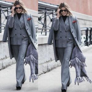 Women's Business Office Work Pants Sets Trouser Suits Ladies Long Wool Overcoat