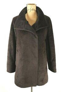 Cinzia Rocca Brown Soft Baby Llama Wool Pea Coat Fur Button Front Womens 4 US