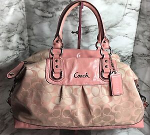 Coach Ashley Large Signature Sateen Pink Convertible Satchel Handbag 15440