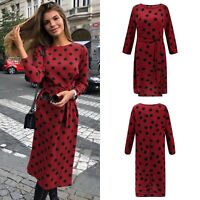 Women Casual Polka Dot Midi Dress Long Sleeve Retro Maxi Dress Party dress