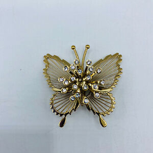 Monet White Crystal Butterfly Brooch/Pin signed