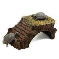 Ramp Mounted Resin Hut Habitat Landscape Aquarium for Aquatic Turtle Decora U9I4