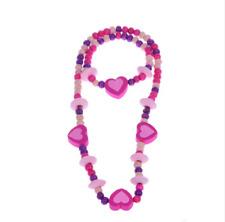 Mädchen Mit Blume-neuw.- Holzperlen Kinderschmuck Armband Dehnbar Pink