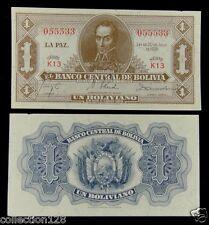 Bolivia Paper Money 1 Boliviano 1928 UNC