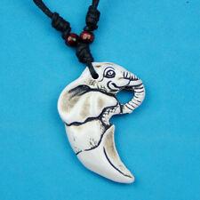 Lucky Elephant Pendant Yak Bone Amulet Necklace Gift