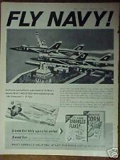 1965 Lindberg Blue Angels Navy Airplane Model Kit Post Corn Flakes Cereal Box Ad