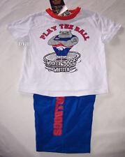 Western Bulldogs Mascot AFL Boys White Blue Printed Cotton Pyjama Set Size 5 New
