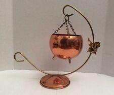 Coppercraft Guild Copper Hanging Pot Dish Candle Holder Planter~Brass Hanger