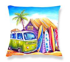 Deborah Broughton Art Throw Pillow Cushion Cover 45x45cm Surf Beach & Kombi Greenie