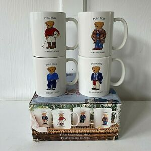 Vintage 1997 Ralph Lauren Polo Bear Mugs New in Box Set of 4 1990s 90s
